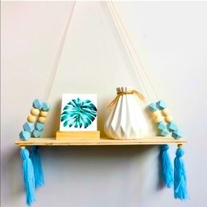 Hanging Wooden 2pk Shelves with Beaded Tassels NWT